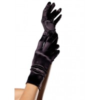 Black Wrist Length Satin Gloves