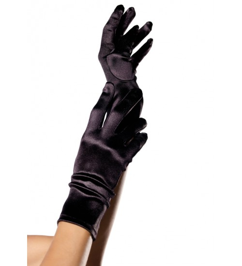 Black Wrist Length Satin Gloves at Burlesque Diva, Celebrate Burlesque - Costumes, Shoes, and Accessories for Performers