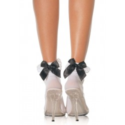 Bow and Lace Ruffle Trimmed Anklet Socks Burlesque Diva Celebrate Burlesque - Costumes, Shoes, and Accessories for Performers