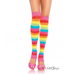 Rainbow Striped Leg Warmers Burlesque Diva Celebrate Burlesque - Costumes, Shoes, and Accessories for Performers