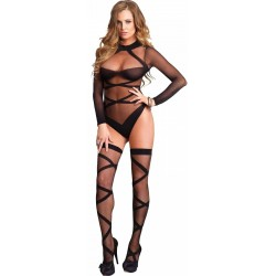 Cross Strap Teddy and Stockings Set Burlesque Diva Celebrate Burlesque - Costumes, Shoes, and Accessories for Performers