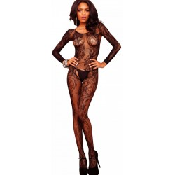 Black Swirl Lace Bodystocking Burlesque Diva Celebrate Burlesque - Costumes, Shoes, and Accessories for Performers