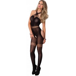 Twisted Strap Opaque Black Bodystocking Burlesque Diva Celebrate Burlesque - Costumes, Shoes, and Accessories for Performers
