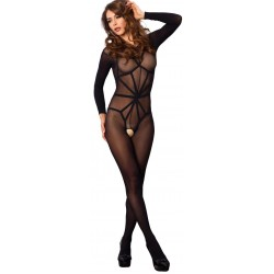 Opaque Illusion Black Bodystocking Burlesque Diva Celebrate Burlesque - Costumes, Shoes, and Accessories for Performers