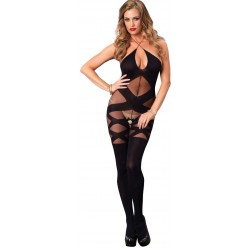 Illusion Halter Opaque Black Bodystocking Burlesque Diva Celebrate Burlesque - Costumes, Shoes, and Accessories for Performers