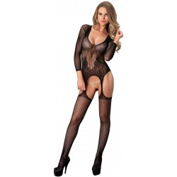 Long Sleeve Lace Bodystocking Burlesque Diva Celebrate Burlesque - Costumes, Shoes, and Accessories for Performers