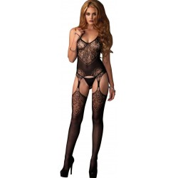 Jacquard Lace Black Suspender Bodystocking Burlesque Diva Celebrate Burlesque - Costumes, Shoes, and Accessories for Performers