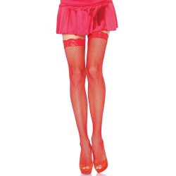 Fishnet Garter Stockings with Lace Top - Red Burlesque Diva Celebrate Burlesque - Costumes, Shoes, and Accessories for Performers