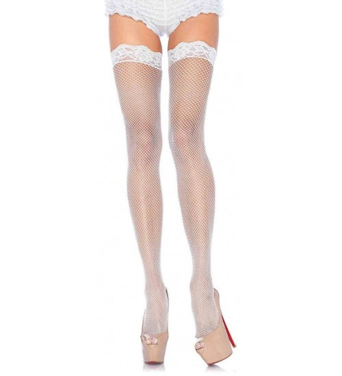 Fishnet Garter Stockings with Lace Top - White at Burlesque Diva, Celebrate Burlesque - Costumes, Shoes, and Accessories for Performers