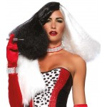 Black and White Cruella Costume Wig at Burlesque Diva, Celebrate Burlesque - Costumes, Shoes, and Accessories for Performers