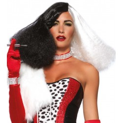 Black and White Cruella Costume Wig Burlesque Diva Celebrate Burlesque - Costumes, Shoes, and Accessories for Performers