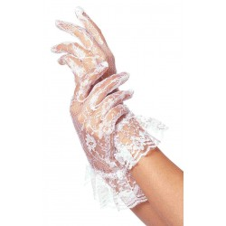 White Ruffled Lace Wrist Length Gloves Burlesque Diva Celebrate Burlesque - Costumes, Shoes, and Accessories for Performers