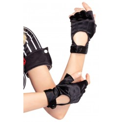 Fingerless Black Snap Satin Gloves Burlesque Diva Celebrate Burlesque - Costumes, Shoes, and Accessories for Performers