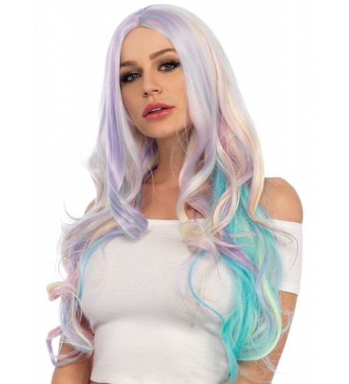Pastel Rainbow Long Wavy Wig at Burlesque Diva, Celebrate Burlesque - Costumes, Shoes, and Accessories for Performers