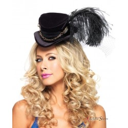Steampunk Black Velvet Top Hat Burlesque Diva Celebrate Burlesque - Costumes, Shoes, and Accessories for Performers