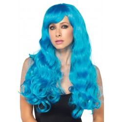 Neon Blue Long Wavy Wig Burlesque Diva Celebrate Burlesque - Costumes, Shoes, and Accessories for Performers