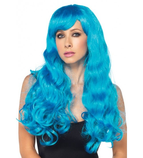 Neon Blue Long Wavy Wig at Burlesque Diva, Celebrate Burlesque - Costumes, Shoes, and Accessories for Performers