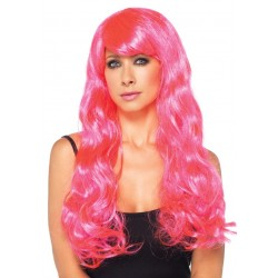 Neon Pink Long Wavy Wig Burlesque Diva Celebrate Burlesque - Costumes, Shoes, and Accessories for Performers