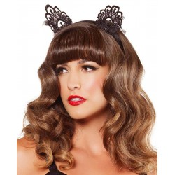Black Lace Cat Ears Burlesque Diva Celebrate Burlesque - Costumes, Shoes, and Accessories for Performers