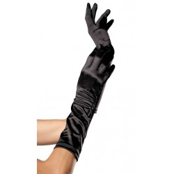Black Satin Elbow Length Gloves Burlesque Diva Celebrate Burlesque - Costumes, Shoes, and Accessories for Performers