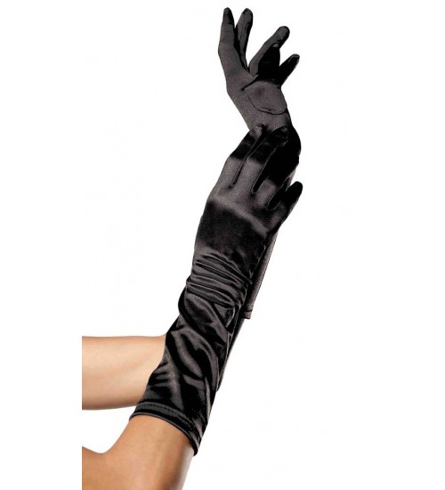 Black Satin Elbow Length Gloves at Burlesque Diva, Celebrate Burlesque - Costumes, Shoes, and Accessories for Performers