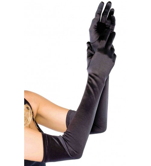 Satin Extra Long Black Opera Gloves at Burlesque Diva, Celebrate Burlesque - Costumes, Shoes, and Accessories for Performers