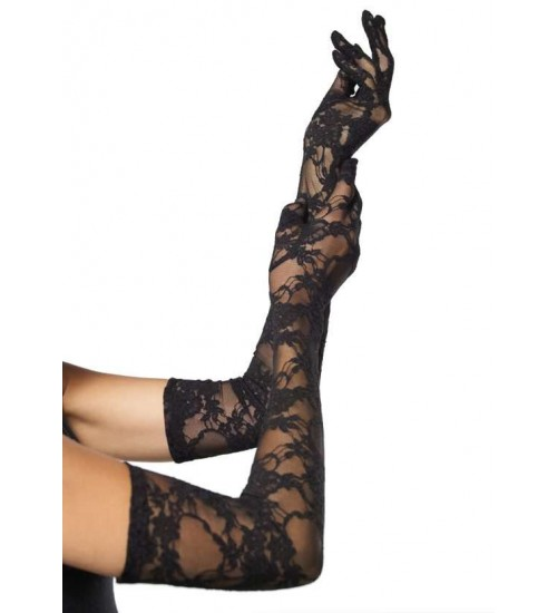 Elegant Black Lace Opera Gloves at Burlesque Diva, Celebrate Burlesque - Costumes, Shoes, and Accessories for Performers