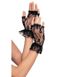 Ruffled Lace Wrist Length Fingerless Gloves Burlesque Diva Celebrate Burlesque - Costumes, Shoes, and Accessories for Performers
