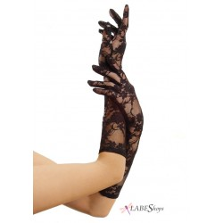 Black Elbow Length Lace Gloves Burlesque Diva Celebrate Burlesque - Costumes, Shoes, and Accessories for Performers