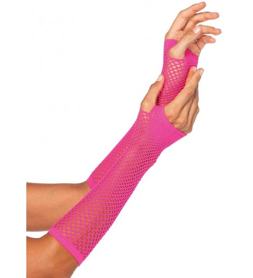 Neon Pink Triangle Net Fingerless Gloves at Burlesque Diva, Celebrate Burlesque - Costumes, Shoes, and Accessories for Performers