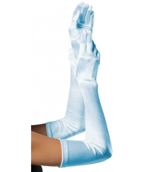 Light Blue Satin Extra Long Opera Gloves at Burlesque Diva, Celebrate Burlesque - Costumes, Shoes, and Accessories for Performers