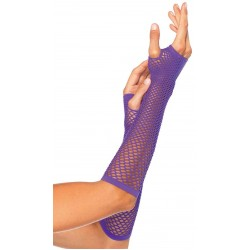 Neon Purple Triangle Net Fingerless Gloves Burlesque Diva Celebrate Burlesque - Costumes, Shoes, and Accessories for Performers