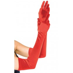 Red Satin Extra Long Opera Gloves Burlesque Diva Celebrate Burlesque - Costumes, Shoes, and Accessories for Performers
