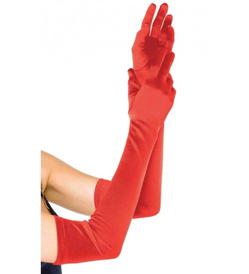 Red Satin Extra Long Opera Gloves at Burlesque Diva, Celebrate Burlesque - Costumes, Shoes, and Accessories for Performers