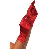 Red Wrist Length Satin Gloves
