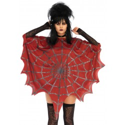Spider Web Red Unisex Glitter Poncho Burlesque Diva Celebrate Burlesque - Costumes, Shoes, and Accessories for Performers