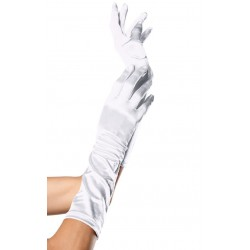 White Satin Elbow Length Gloves Burlesque Diva Celebrate Burlesque - Costumes, Shoes, and Accessories for Performers