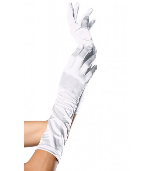 White Satin Elbow Length Gloves at Burlesque Diva, Celebrate Burlesque - Costumes, Shoes, and Accessories for Performers