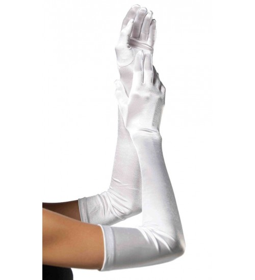 Satin Extra Long White Bridal Opera Gloves at Burlesque Diva, Celebrate Burlesque - Costumes, Shoes, and Accessories for Performers