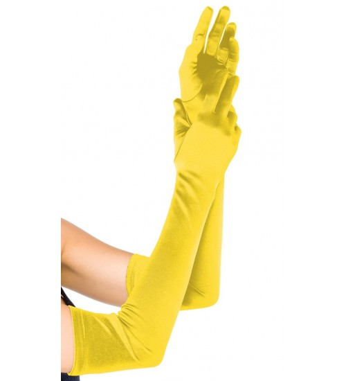 Yellow Satin Extra Long Opera Gloves at Burlesque Diva, Celebrate Burlesque - Costumes, Shoes, and Accessories for Performers