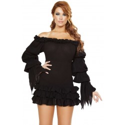 Ruffled Black Gothic Pirate Dress Burlesque Diva Celebrate Burlesque - Costumes, Shoes, and Accessories for Performers