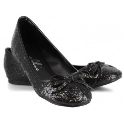 Black Glitter Mila Ballet Flats Burlesque Diva Celebrate Burlesque - Costumes, Shoes, and Accessories for Performers