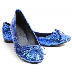 Blue Glitter Mila Ballet Flats Burlesque Diva Celebrate Burlesque - Costumes, Shoes, and Accessories for Performers