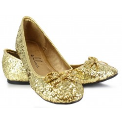 Gold Glitter Mila Ballet Flats Burlesque Diva Celebrate Burlesque - Costumes, Shoes, and Accessories for Performers