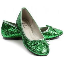 Green Glitter Mila Ballet Flats Burlesque Diva Celebrate Burlesque - Costumes, Shoes, and Accessories for Performers