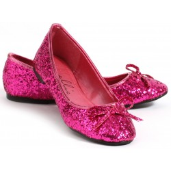 Fuchsia Glitter Mila Ballet Flats Burlesque Diva Celebrate Burlesque - Costumes, Shoes, and Accessories for Performers