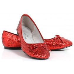 Red Glitter Mila Ballet Flats Burlesque Diva Celebrate Burlesque - Costumes, Shoes, and Accessories for Performers
