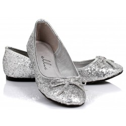 Silver Glitter Mila Ballet Flats Burlesque Diva Celebrate Burlesque - Costumes, Shoes, and Accessories for Performers