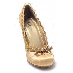 Satin Doll Gold High Heel Pump Burlesque Diva Celebrate Burlesque - Costumes, Shoes, and Accessories for Performers