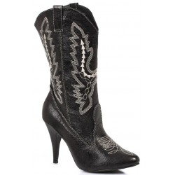 Black Scrolled Cowgirl Boots Burlesque Diva Celebrate Burlesque - Costumes, Shoes, and Accessories for Performers